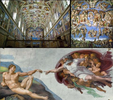 La chapelle Sixtine, la fresque du Jugement Dernier et La création d'Adam par Dieu,Michel-Ange
