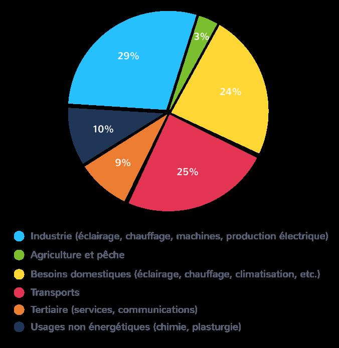 Les usages de l'énergie à l'échelle mondiale en 2016 selon l'Agence internationale de l'énergie