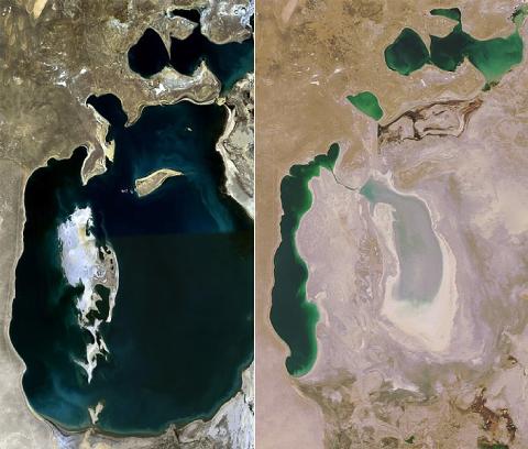 La mer d'Aral a fortement reculé entre 1989 et 2008.