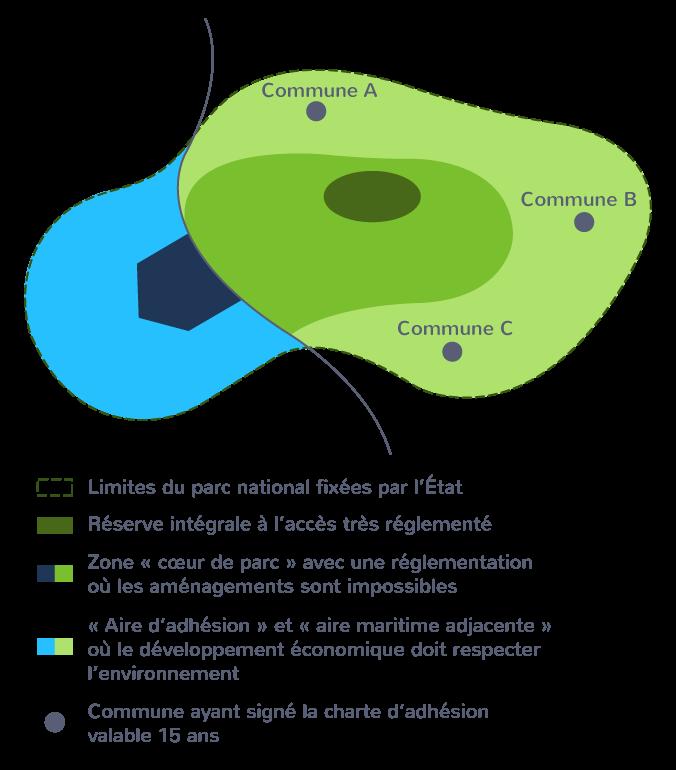 Schéma d'organisation d'un parc national terrestre et maritime