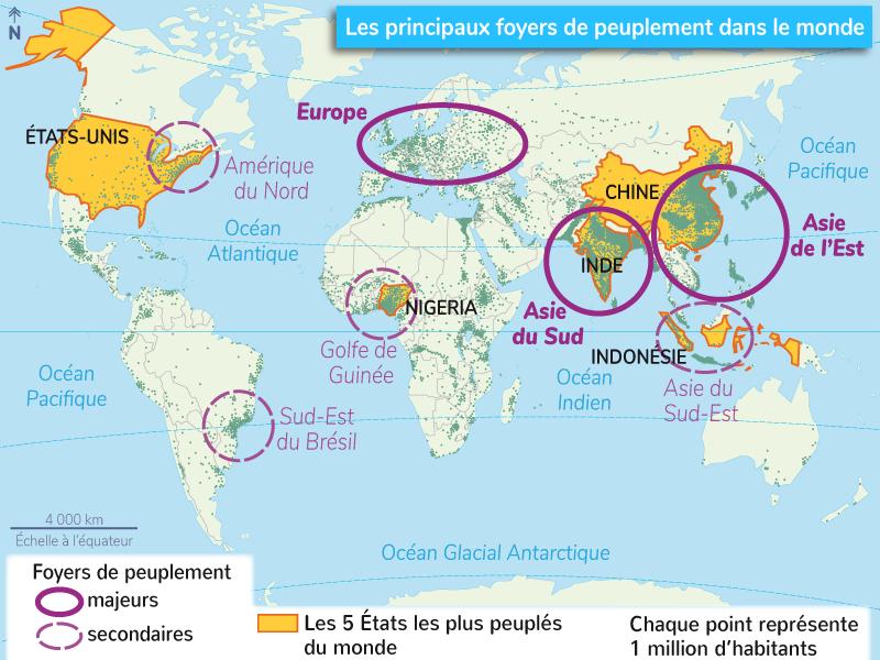 répartition géographique humanité foyers peuplement
