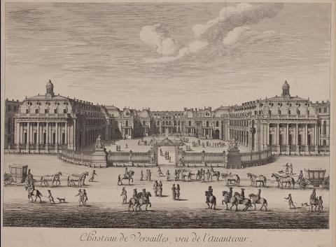 Château de Versailles, vue de l'avant-cour, Israel Sylvestre, 1682