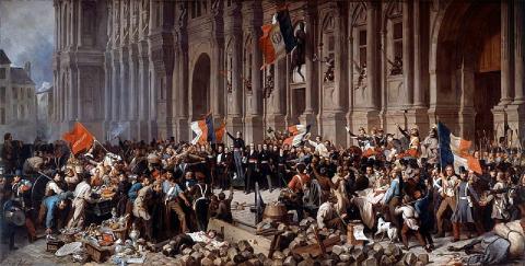 Lamartine devant l'Hôtel de Ville de Paris le 25 février 1848 refuse le drapeau rouge, Henri Félix Emmanuel Philippoteaux.