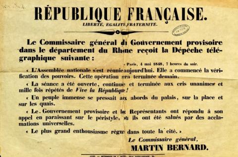 Adresse de Martin Bernard aux habitants du Rhône le 4 mai 1848