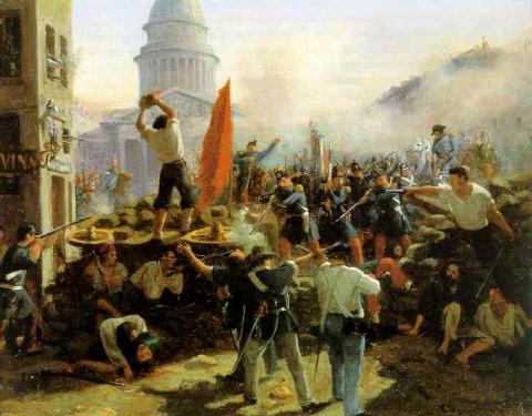 Barricade de la rue Soufflot, à Paris, le 25 juin 1848, Horace Vernet, 1848.