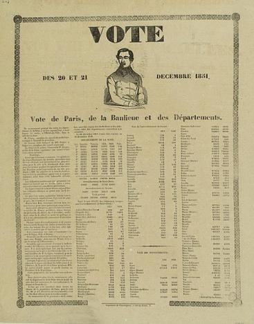 Résultat du plébiscite de décembre 1851