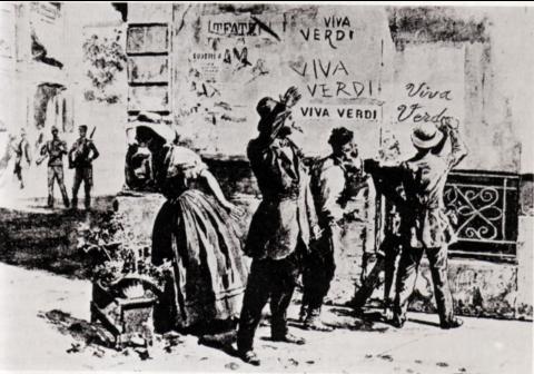 Graffitis «VIVA VERDI», dessin politique anonyme, 1859