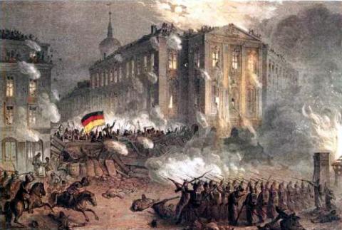 Patriotes allemands sur les barricades de Berlin en 1848