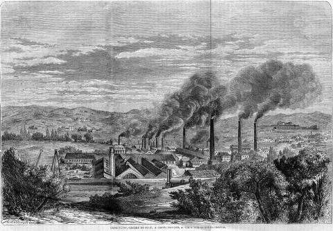 Usine à Saint-Chamont en 1862