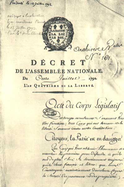 Décret de l'Assemblée nationale proclamant «la Patrie en danger»