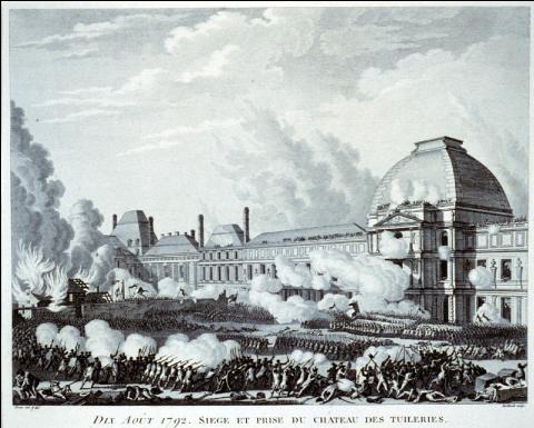 Dix août 1792. Siège et Prise du château des Tuileries, gravure publiée dans Collection complète des tableaux historiques de la Révolution française, 1804