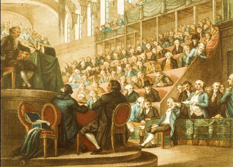 Gravure anonyme du XVIIIe siècle représentant Louis XVI lors de son procès