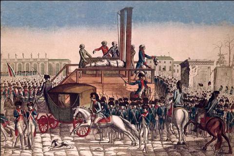 Gravure anonyme du XVIIIe siècle représentant l'exécution de Louis XVI