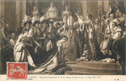 Le sacre de l'empereur Napoléon Ier en 1804 peint par Jacques-Louis David en 1807.