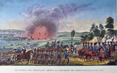 Napoléon bat en retraite à Leipzig face aux armées coalisées.