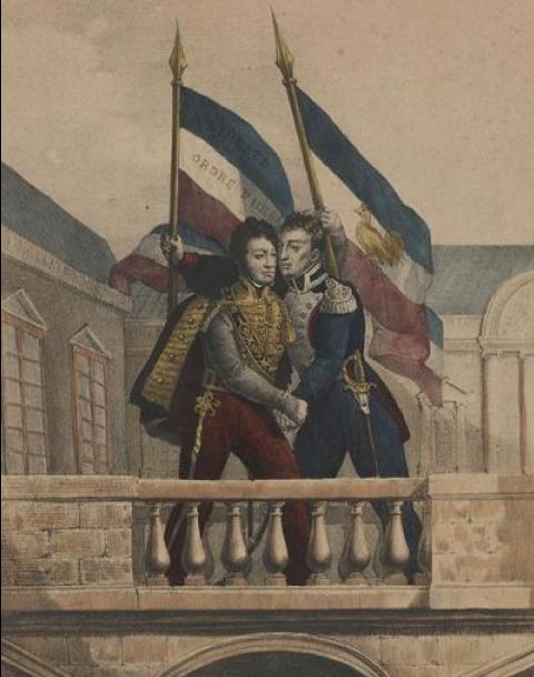 Louis Philippe donne l'accolade au duc d'Orléans au balcon de l'hôtel de ville de Paris, Anonyme, 1830.
