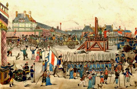 Estampe anonyme représentant l'exécution de Robespierre en 1794