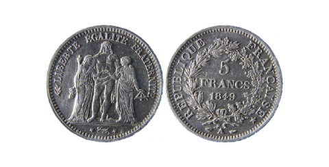 Monnaie de 1849 frappée de la nouvelle devise