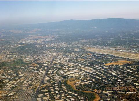 Vue sur une partie de la Silicon Valley, région de San Jose en Californie