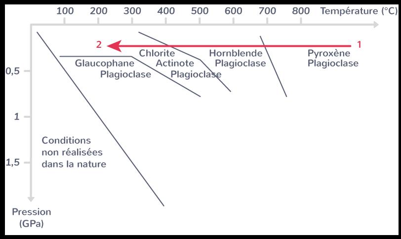 Diagramme de stabilité des minérauxLe «trajet» pression-température du plancher océanique lors de son vieillissement est indiqué par la flèche épaisse.(1: conditions au niveau de la dorsale; 2: faciès schistes verts)