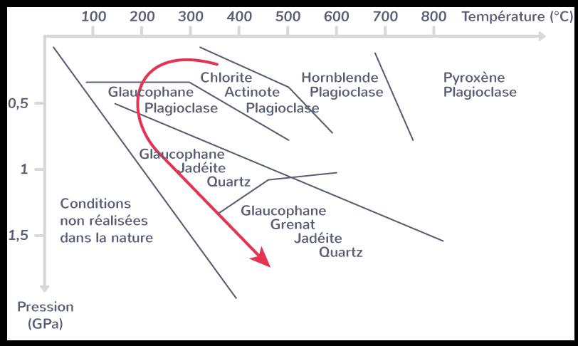 Métamorphisme de subductionLe «trajet» pression/température suivi par la plaque plongeante est indiqué en rouge.