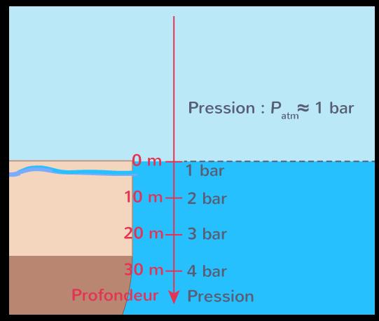 évolution pression eau fonction profondeur