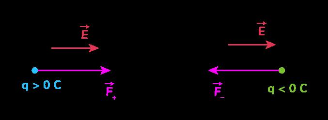 Orientation de la force électrique que subit une particule chargée en fonction du signe de sa charge électrique