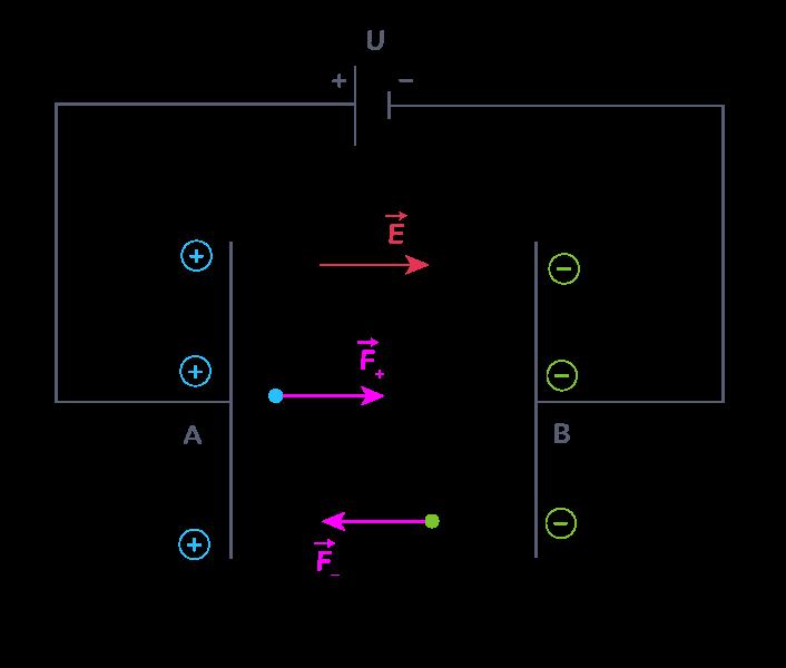 Force subie par des particules dans un condensateur plan