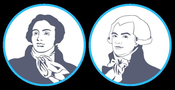 Le député modéré Antoine Barnave et le député radical Maximilien de Robespierre