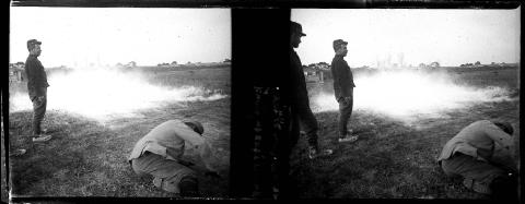 La Cheppe. Camp d'Attila. Bombes à gaz suffocants, Raoul Berthelé, 1916