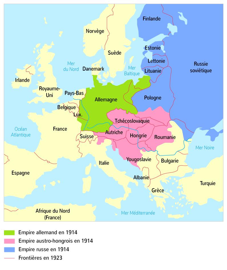 Carte de l'Europe après les traités de paix