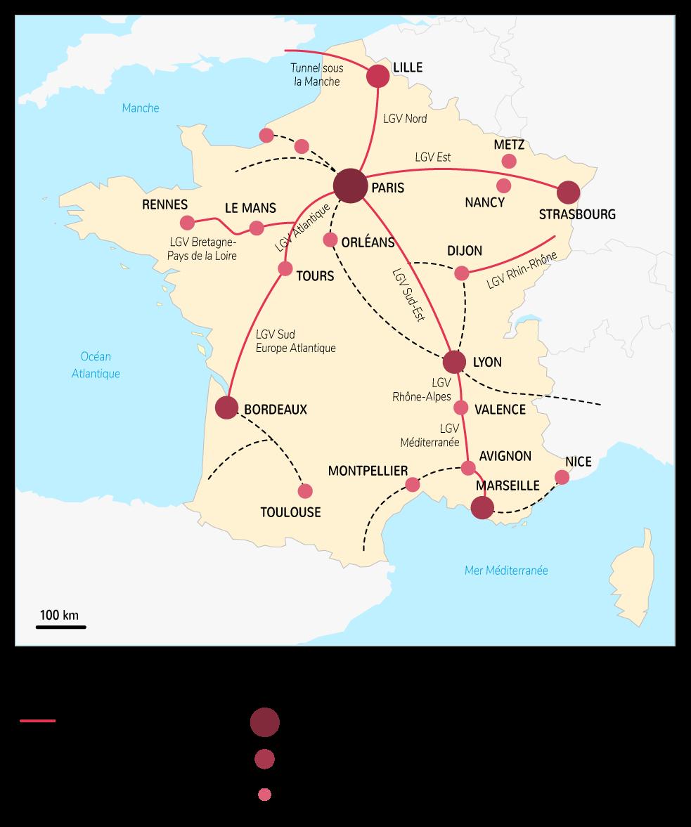 Le réseau ferré des lignes à grande vitesse en France