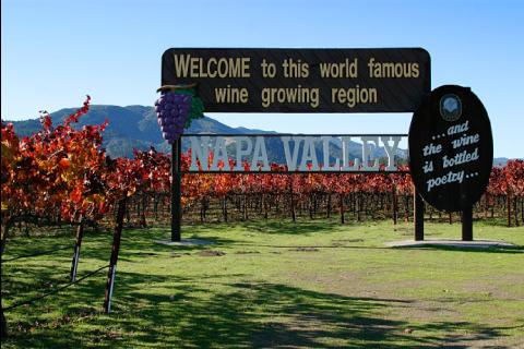 Entrée d'un domaine viticole au cœur de la Napa Valley