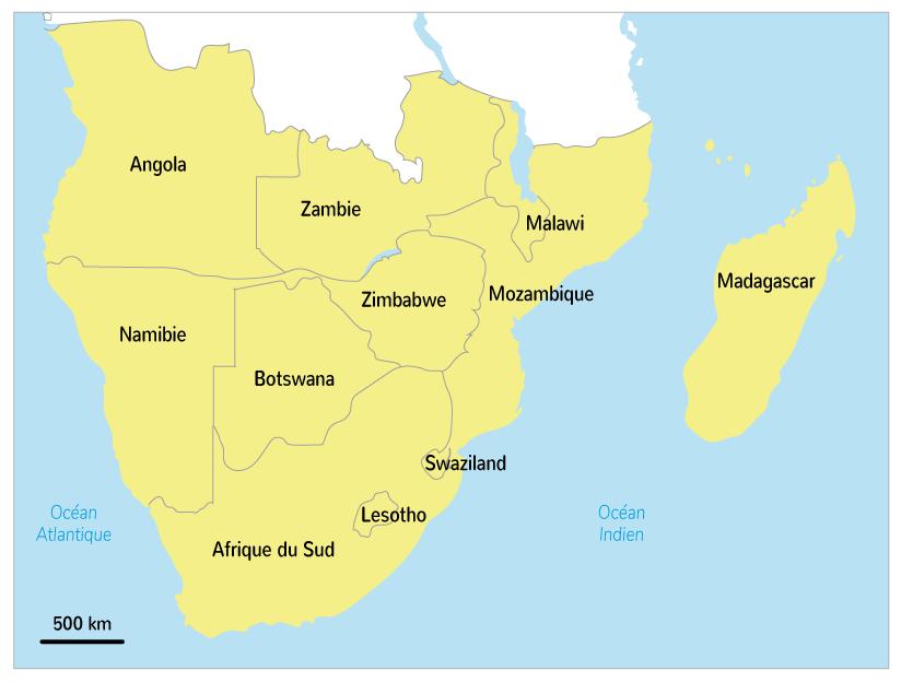 Les États qui composent l'Afrique australe