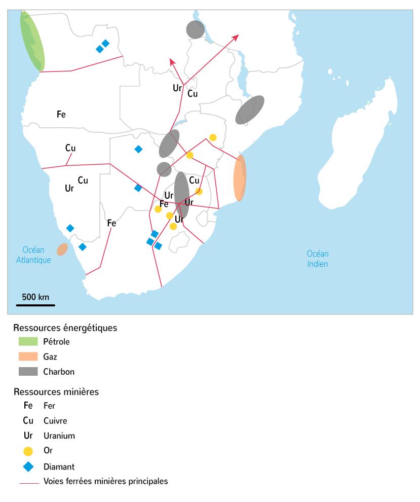 Les ressources énergétiques et minières en Afrique australe