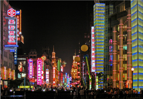 Nankin, une rue piétonne de Shanghai