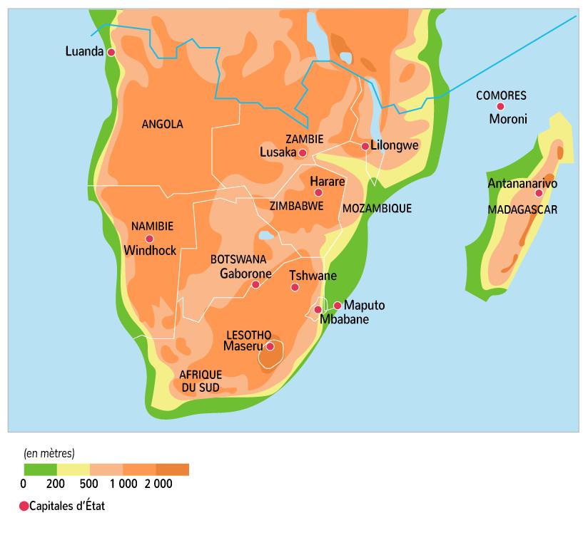 Les principaux reliefs en Afrique australe