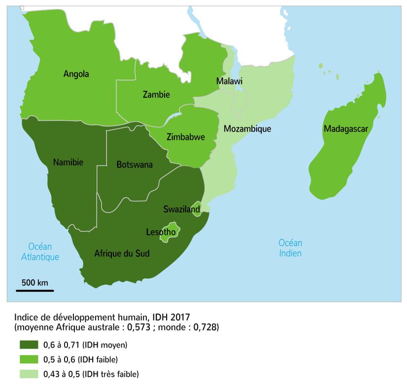 L'IDH dans les États d'Afrique australe