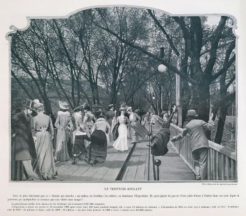 Photographie du trottoir roulant fonctionnant à l'électricité lors de l'Exposition de 1900 à Paris