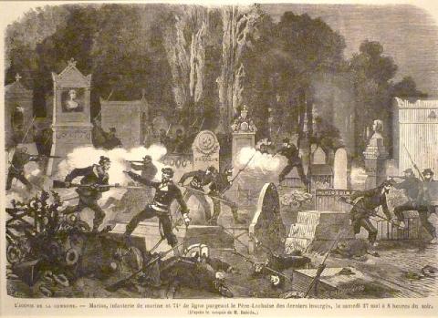 Gravure d'Amédée Daudenarde pourLe Monde illustrédu 24 juin 1871 montrant le dernier combat des communards