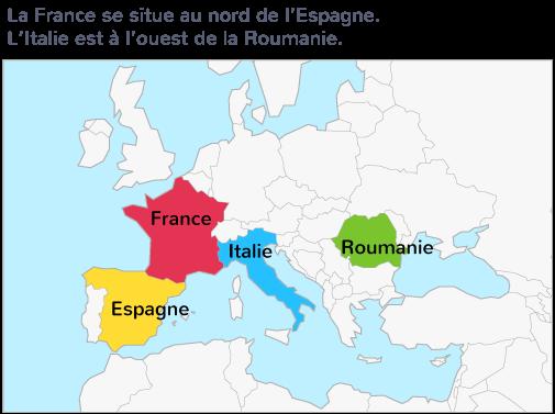 carte Europe points cardinaux nord sud est ouest repérage