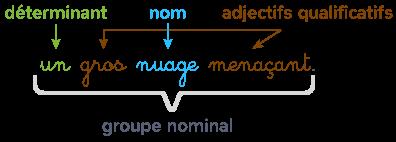 groupe nominal groupe de mots contient déterminant nom