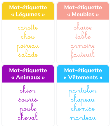rangement mots-étiquettes groupes catégories