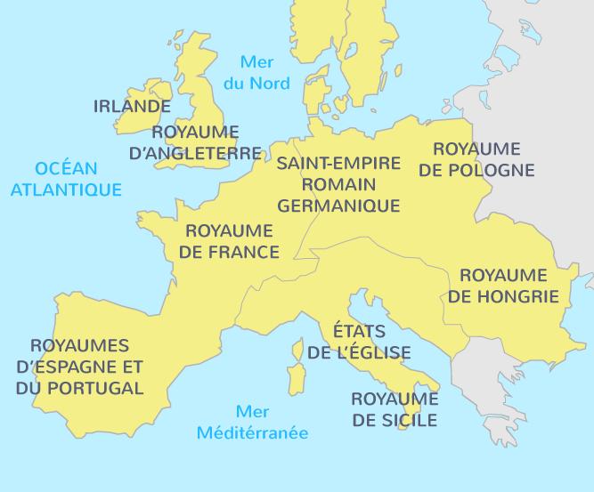carte des royaumes européens au XIe siècle