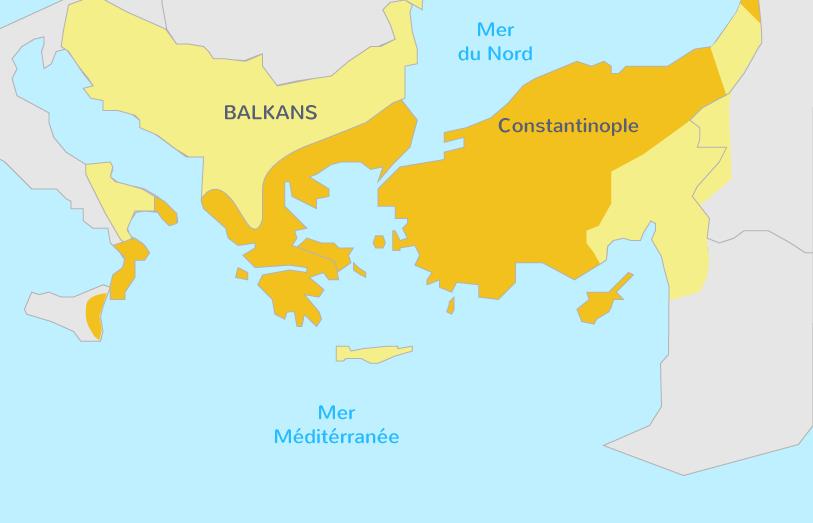 Carte de l'empire byzantin au VIe siècle