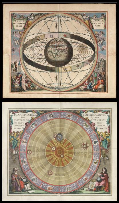 Le système géocentrique de Ptolémée (la Terre au centre de l'Univers) et le système héliocentrique de Copernic (le Soleil au centre de l'Univers)