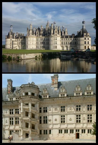 Le château de Chambord et l'aile François Ier du château de Blois