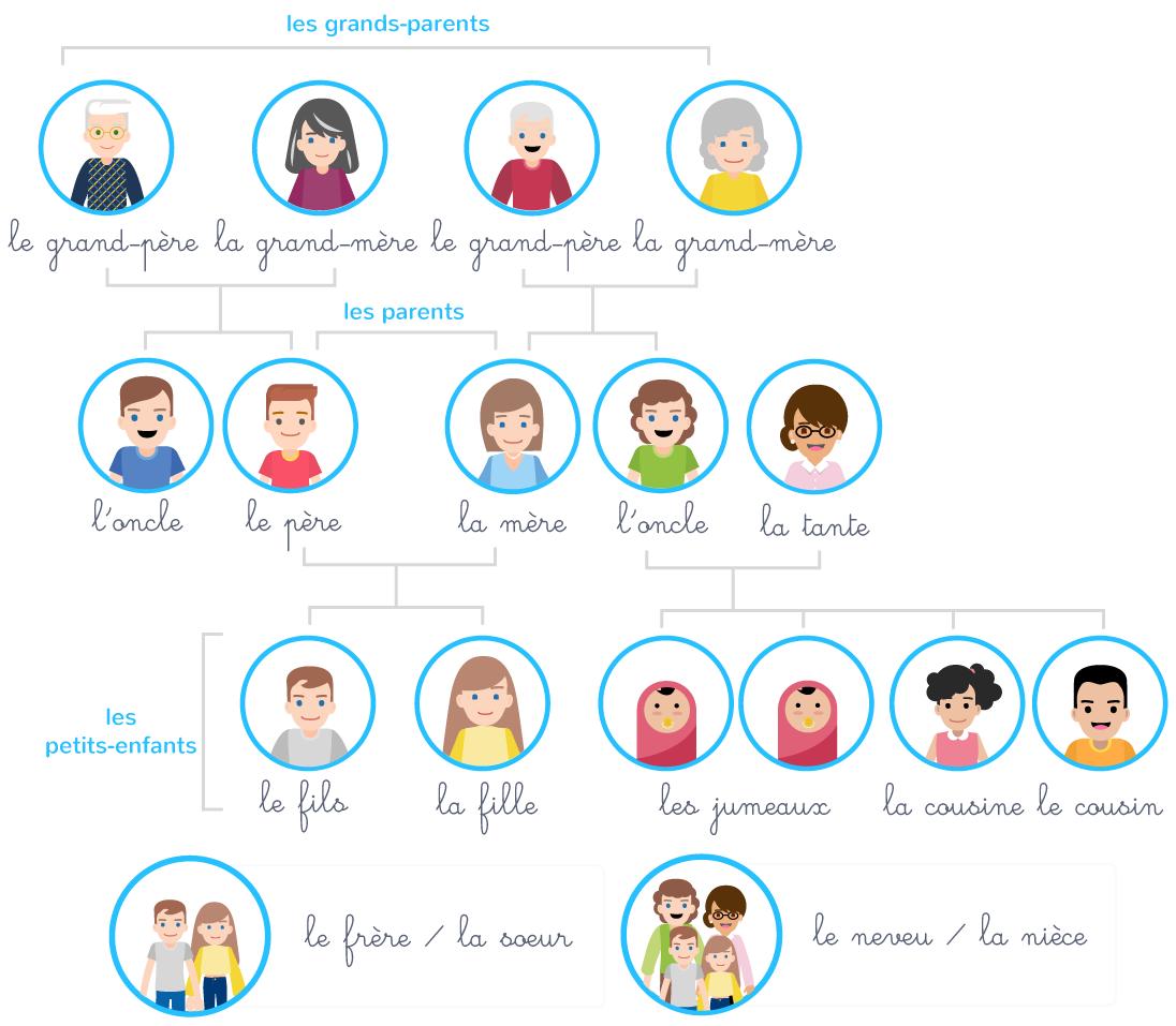 membres famille vocabulaire