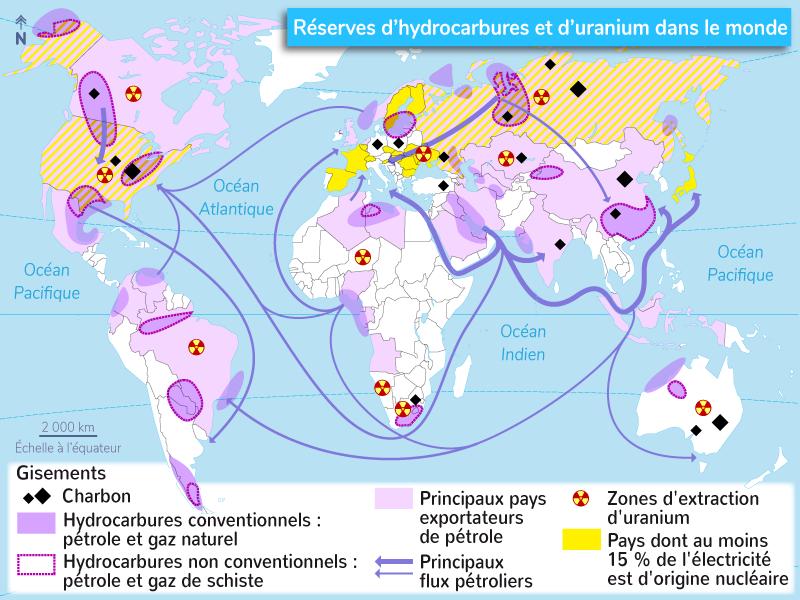 réserves mondiales énergies fossiles