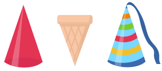 cône solide face rond sommet pointu